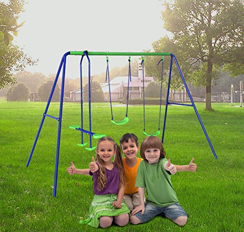 hlcbalançoire portique enfant avec 2 balançoires et 1
